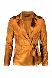 Womens Satin Button Side Tie Blazer - yellow - 12, Yellow