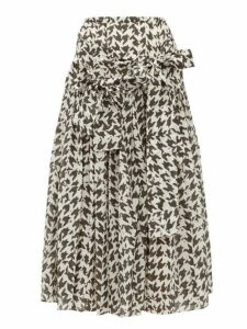 Sara Lanzi - Houndstooth Print Cotton Blend Midi Skirt - Womens - Black White