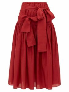 Sara Lanzi - Waist Tie Cotton Blend Poplin Midi Skirt - Womens - Red