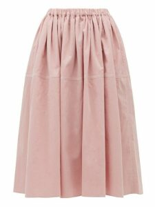 Sara Lanzi - Gathered Cotton-corduroy Skirt - Womens - Light Pink