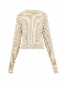 Chloé - Two Tone Ribbed Wool Blend Sweater - Womens - Beige Multi
