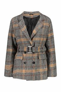 Womens Check Belted Wool Look Blazer - beige - 12, Beige