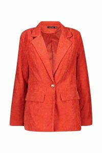 Womens Cord Button Pocket Front Blazer - orange - 12, Orange