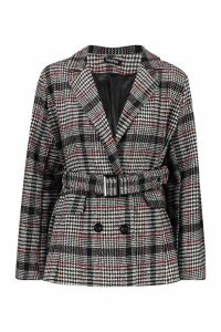 Womens Check Belted Wool Look Blazer - red - 8, Red