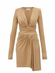 Alexandre Vauthier - Draped Plunge Neckline Crepe Dress - Womens - Beige