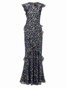 Saloni - Tamara Floral Jacquard Silk Blend Maxi Dress - Womens - Navy Multi