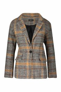 Womens Check Wool Look Blazer Coat - beige - 8, Beige