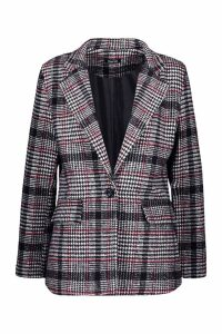 Womens Check Blazer Coat - red - 8, Red