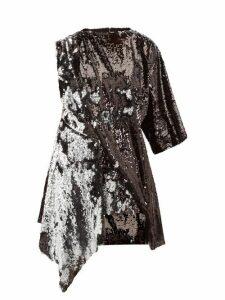 Marques'almeida - Open Back Asymmetric Sequinned Mini Dress - Womens - Silver