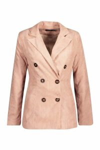 Womens Double Breasted Cord Blazer - pink - 8, Pink