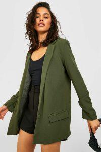 Womens Oversized V Detail Ruche Sleeve Blazer - green - 14, Green