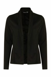 Womens Lapel Jersey Blazer - black - 14, Black