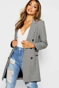Womens Dogtooth Double Breasted Blazer - black - 14, Black