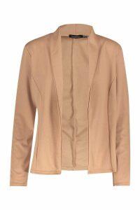 Womens Lapel Jersey Blazer - beige - 14, Beige