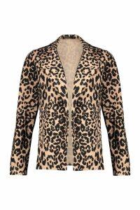 Womens Petite Leopard Print Lapel Blazer - beige - M, Beige