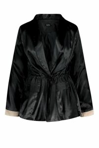 Womens Plus Satin Utility Oversized Blazer - black - 20, Black