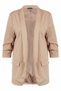 Womens Plus Ruched Sleeve Blazer - beige - 20, Beige