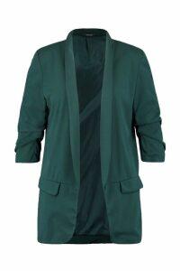 Womens Plus Ruched Sleeve Blazer - green - 16, Green