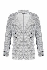 Womens Tall Check Button Detail Blazer - grey - 16, Grey