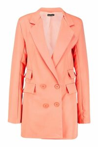 Womens Tall Woven Double Pocket Blazer - orange - 12, Orange