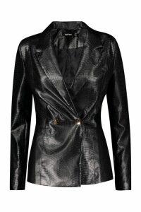 Womens Snake PU Blazer Premium - black - 14, Black