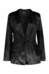 Womens Satin Draw Cord Blazer - black - 10, Black