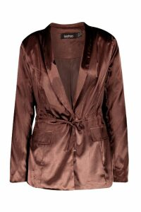 Womens Satin Draw Cord Blazer - brown - 12, Brown