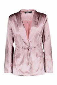 Womens Satin Draw Cord Blazer - pink - 14, Pink
