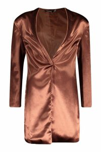 Womens Satin Extreme Shoulder Pad Long Line Blazer - brown - 14, Brown