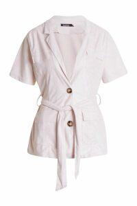 Womens Suedette Utility Short Sleeve Blazer - pink - 14, Pink