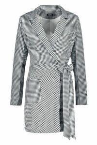 Womens Woven Longline Gingham Side Tie Blazer - black - 10, Black