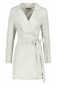 Womens Woven Longline Gingham Side Tie Blazer - cream - 14, Cream