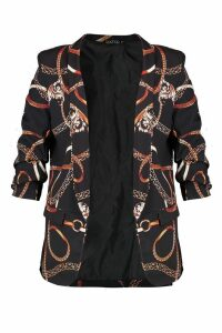 Womens Plus Chain Print Blazer - black - 18, Black