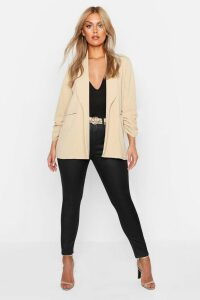 Womens Plus Lapel Detail Ruched Sleeve Blazer - beige - 20, Beige