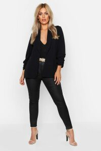 Womens Plus Lapel Detail Ruched Sleeve Blazer - black - 20, Black