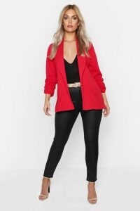 Womens Plus Lapel Detail Ruched Sleeve Blazer - red - 20, Red