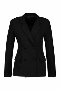 Womens Petite Self Fabric Button Blazer - black - 8, Black