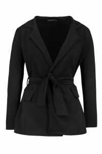 Womens Petite Oversized Tie Blazer - black - 6, Black