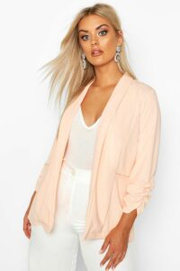 Womens Plus Lapel Detail Ruched Blazer - pink - 18, Pink