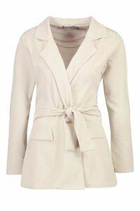Womens Petite Oversized Tie Blazer - beige - 14, Beige