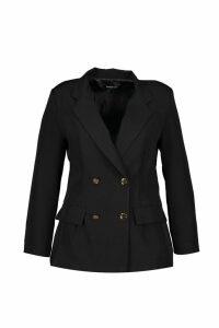 Womens Plus Double Breasted Military Blazer - black - 20, Black