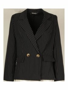 Womens Petite Pinstripe Button Up Blazer - black - 14, Black