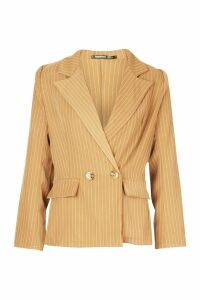Womens Petite Pinstripe Button Up Blazer - brown - 14, Brown
