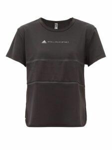 Adidas By Stella Mccartney - Run Loose Mesh Insert Stretch Jersey T Shirt - Womens - Black