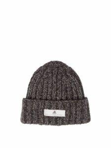 Adidas By Stella Mccartney - Logo Patch Knitted Beanie Hat - Womens - Black