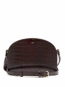 A.p.c. - Half Moon Crocodile Effect Leather Cross Body Bag - Womens - Burgundy