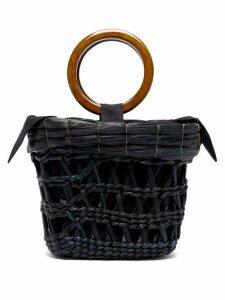 Sensi Studio - Bamboo Handle Straw Basket Tote Bag - Womens - Black Multi