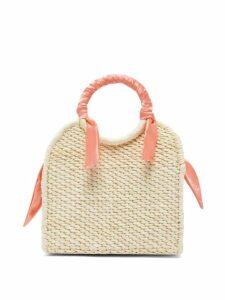 Sensi Studio - Mini Silk Trimmed Straw Basket Bag - Womens - Coral