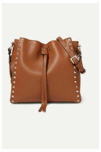 Valentino - Valentino Garavani Rockstud Small Textured-leather Bucket Bag - Brown