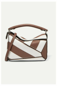 Loewe - Puzzle Mini Two-tone Textured-leather Shoulder Bag - Brown